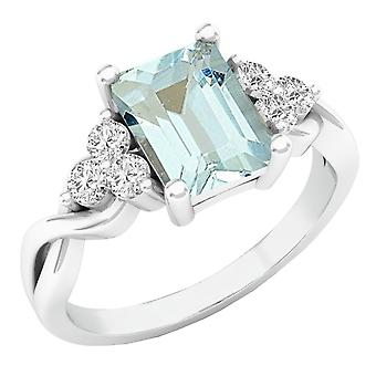 Dazzlingrock Collection Sterling Silver 8X6 MM Emerald Cut Aquamarine & Round Diamond Ladies Halo Engagement Ring