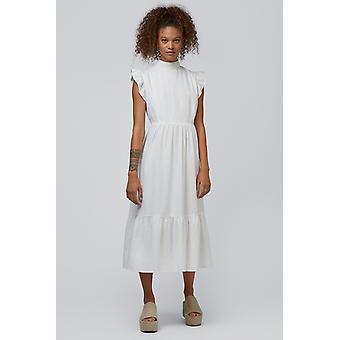 Louche Ally Lace Trim Midi Sukienka Biała