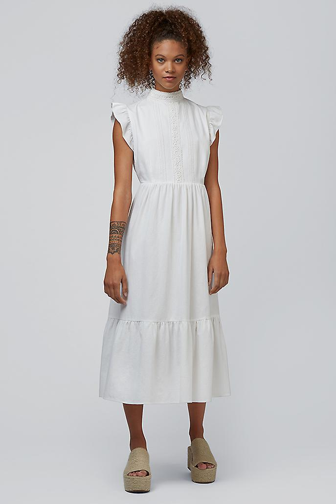 Louche Ally Lace Trim Midi Dress White