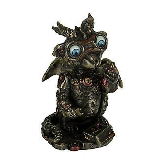 Cast Bronze Steampunk Tinkerer Dragon Figurine Mechanical Builder Sci-Fi Decor