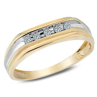 Mens Diamond Wedding Band 1/8 Carat (ctw I2-I3) in 10K Yellow and White Gold
