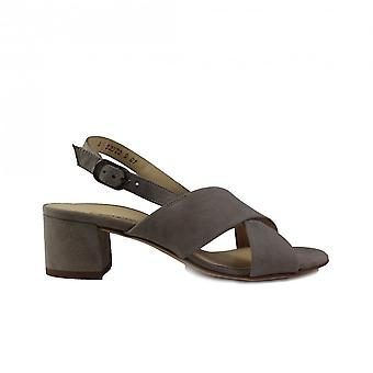 Paul Green 7066-04 Taupe Suede Leather Womens Slingback Heeled Sandals