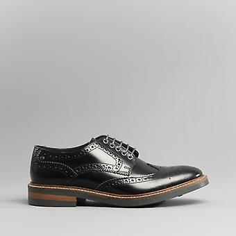Base London Woburn Mens Polished Leather Brogue Shoes Black
