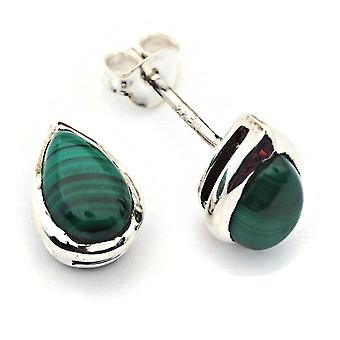 Ohrstecker Ohrringe Silber 925 Sterlingsilber Malachit grün Stein  (Nr: MOS 076-10)