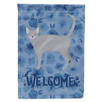Carolines Treasures  CK4961CHF Russian Blue #1 Cat Welcome Flag Canvas House Siz