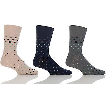 Mens Mini Squares Gentle Grip Sock By Sock Shop Honeycombe Loose Top 6pk RJ29
