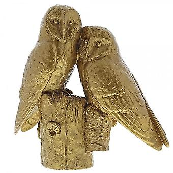 Border Fine Arts Pair Of Owls Gold Figurine