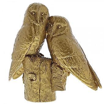 الحدود الفنون الجميلة زوج البوم الذهب التمثال