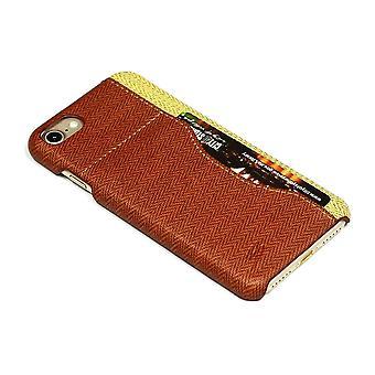 Voor iPhone SE(2020), 8 & 7 case, stijlvol geweven patroon duurzaam beschermend lederen bekleding, bruin