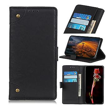 For iPhone 11 Case Black Retro Wild Horse Texture PU Leather Folio Wallet Cover with Stand, Card Slots