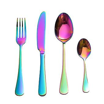 Cutlery set in stainless steel, 4 parts-Rainbow