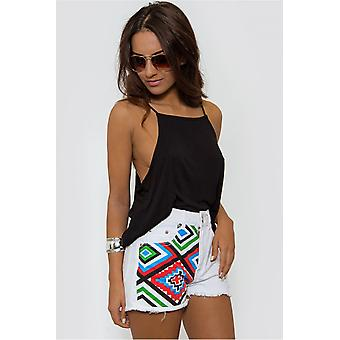 Weiße Azteken Denim Shorts