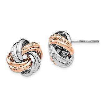 15mm 925 Sterling Silver Rose Rhodium belagt Post Øreringe smykker Gaver til kvinder - 4,7 Gram