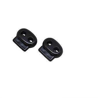 White Plastic Cord Lock Clamp with Bean Twin Hole Button