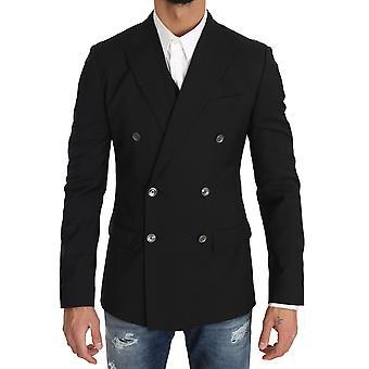 Dolce & Gabbana Negru Lână Blazer Vest 2 Bucată Bird Print
