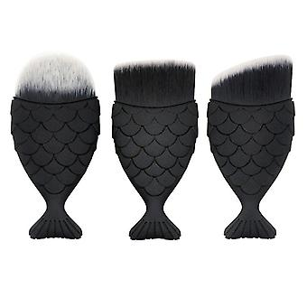 3x Makeup Brushes, Mermaid - Black
