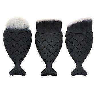 3x cepillos de maquillaje, sirena - negro