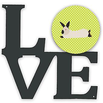 Kalifornia valkoinen kani vihreä metalli seinä kuvitus LOVE