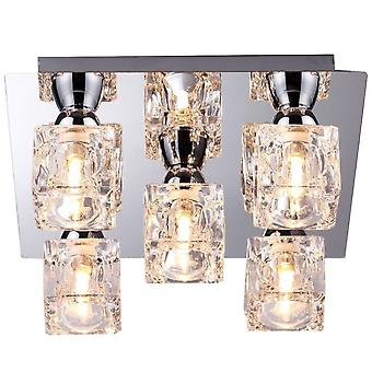 THLC Modern 5 Light Square Ice Cube Flush Ceiling Light In Chrome Finish