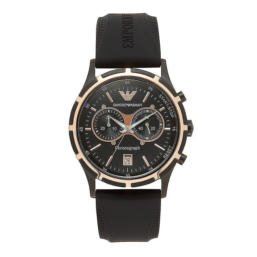 Emporio Armani Mens' Chronograph Watch - AR0584 - Black/Rose Gold