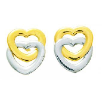 Ohrringe Herzen doubl s Gold 750/1000 gelb und weiß (18K)