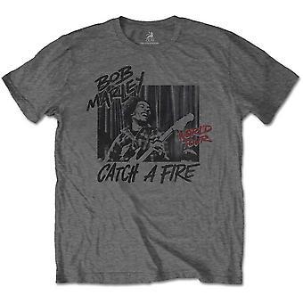 Bob Marley Catch A Fire Tour Officiel Tee-Shirt Mens Unisex