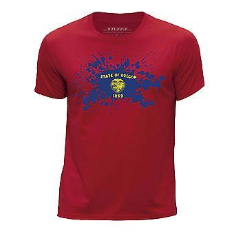 STUFF4 Pojan Pyöreä kaula T-paita / / Oregon USA-osavaltion lippu Splat/punainen