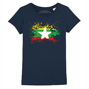 STUFF4 Girl's Round Neck T-Shirt/Burma/Burmese Flag Splat/Navy Blue