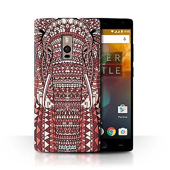 STUFF4 Case/Cover for OnePlus 2/Two/Elephant-Red/Aztec Animal Design
