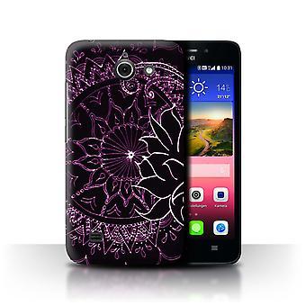 STUFF4 Fall/Abdeckung für Huawei Ascend Y550 LTE/Schwarz/Lila/Henna Paisley Blume