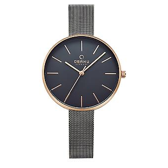 Obaku Mynte Granite Women's Grey Mesh Wristwatch V211LXVJMJ