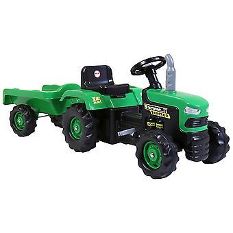Dolu Children's Ride op tractor met trailer groen