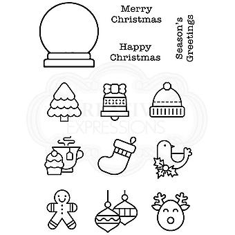 Woodware Polymer Stamp Clear Singles Mini Globe | Set of 13