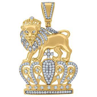 Premium Bling-925 plata esterlina Rey León colgante oro
