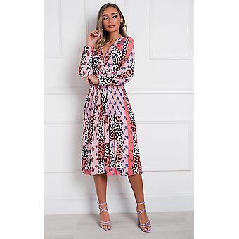 IKRUSH Womens Jemma Pleated Multi Print Midi Kleid