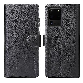 Voor Samsung Galaxy S20 Ultra Case iCoverLover Echte Lederen Wallet Cover Zwart