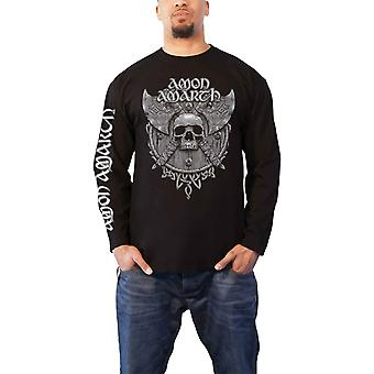 Amon Amarth T Shirt Grey Skull Band Logo new Official Mens Long Sleeve