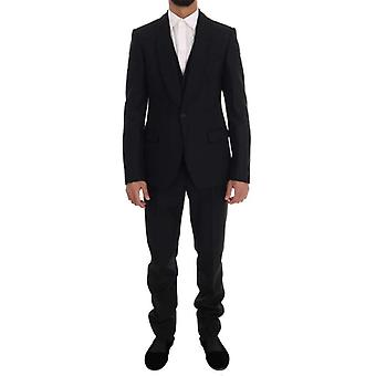 Dolce & Gabbana Black Wool One Button Slim Fit Suit -- KOS1268592