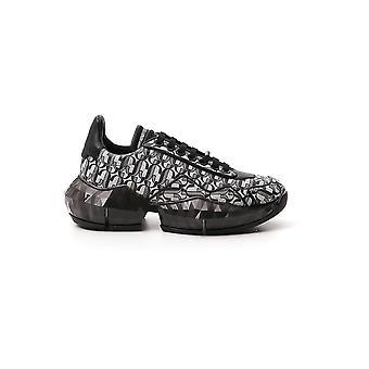 Jimmy Choo Diamondfrjsilverblack Women's Black Leather Sneakers