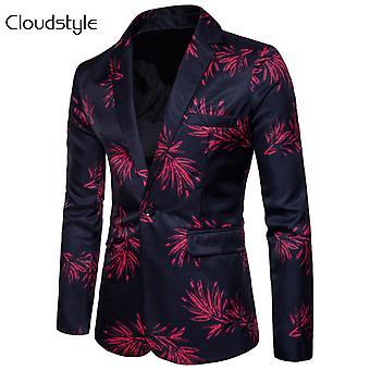 Allthemen mænds blazer Stage kostume slim fit Floral casual jakkesæt jakke