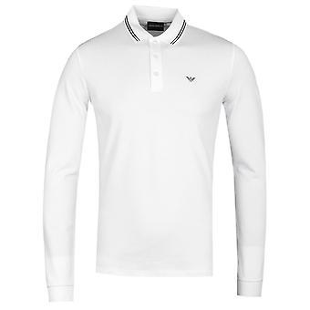 Emporio Armani Long Sleeve White Tipped Polo Shirt