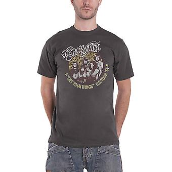 Aerosmith T Shirt Get your Wings US Tour 74 nouveau officiel Mens Charcoal Grey