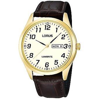 Lorus RJ650AX-9 marrón cuero oro tono caja reloj de pulsera