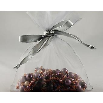 12 Large Silver Organza Favour Gift Bags - 15.5cm x 22.5cm