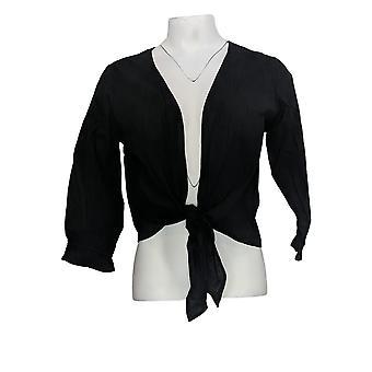 Serengeti Women's Sweater Crinkle Tie Cardigan Black