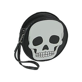 Textured Black Vinyl Skull Design Round Wristlet Purse with Removable Strap 5 Inch Diameter