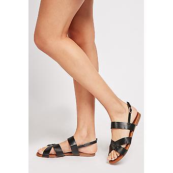 Sandálias de couro faux texturizadas