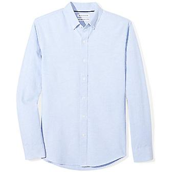 Essentials Men's Slim-Fit Long-Sleeve Solid Oxford Shirt, Blue, XX-Large