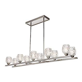 10 Light Ceiling Island Chandelier Pendant Bar Light Polished Nickel, G9