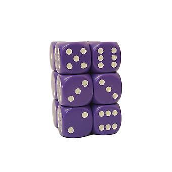 Chessex Opaque 16mm D6 x 12 - Purple/white